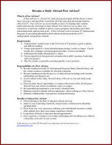 Sle Resume For Abroad study abroad advisor cover letter free menu templates printable