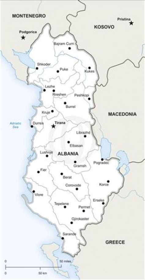 albania map vector albania map with states capitals and rivers vector free