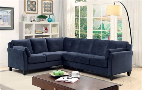 Navy Blue Sectional Sofa 6368nv Nvay Blue Contemporary Sectional Sofa Furniture Of America San Diego Los Angeles
