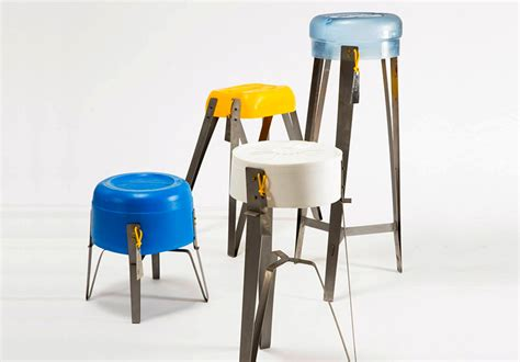used plastic containers get new lives as colorful stools
