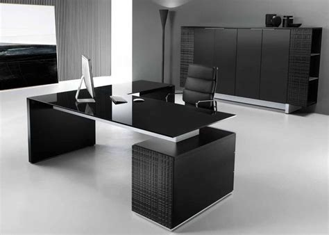 Modi Executive Pedestal Desk Black Glass Top Office Black Executive Office Desk