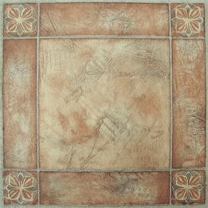 bordered beige self stick vinyl floor tiles