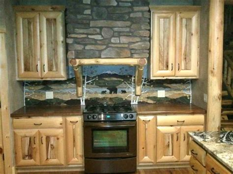 rustic backsplash for kitchen rustic kitchen love the backsplash log cabin cottage ideas pinterest