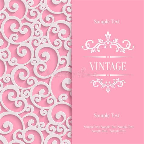 3d invitation card template vector pink 3d vintage invitation card with floral stock