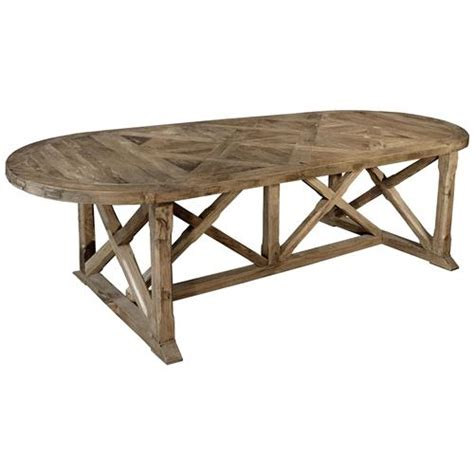 Oval Rustic Dining Table Dutcher Rustic Lodge Reclaimed Elm Parquet Oval Dining Table Kathy Kuo Home