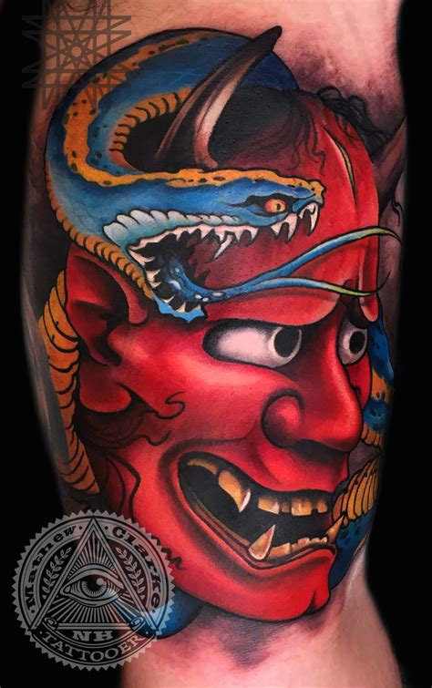 hannya mask snake tattoo midnight moon tattoo