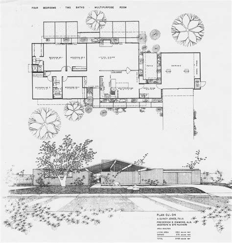 Eichler Atrium Floor Plan by Joseph Eichler Homes Modern House Mid Century Floor