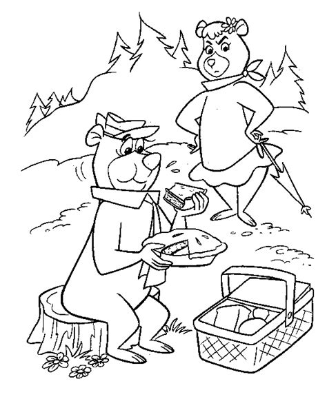Yogi Bear Coloring Pages For Kids Coloringpagesabc Com Yogi Coloring Pages
