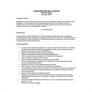 Compounding Technician Cover Letter by Pharmacist Description For Resume