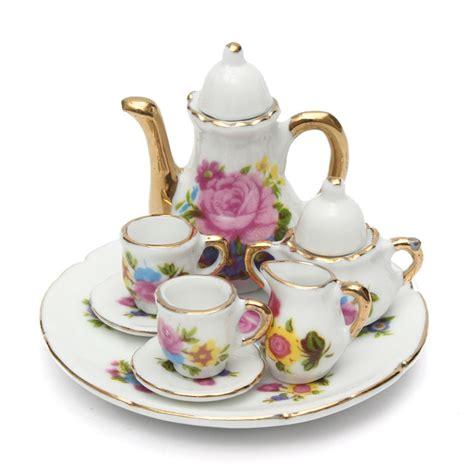 home decoration beautiful antique bird style porcelain tea kits 8pcs porcelain vintage tea sets teapot coffee retro floral cups doll house decor was