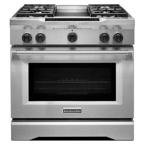 kitchenaid 36 gas range kitchenaid kdrs463vss pro style dual fuel range
