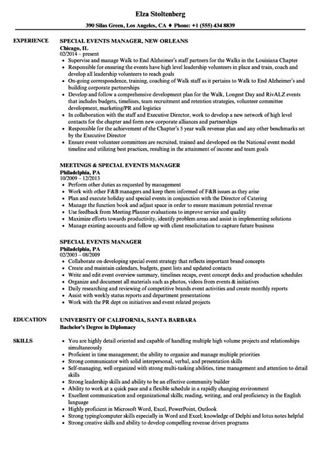 Event Manager Resume by Special Events Manager Resume Sles Velvet