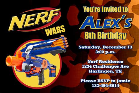 Nerf Invitations By General Prints Nerf Gun Birthday Invitation Template