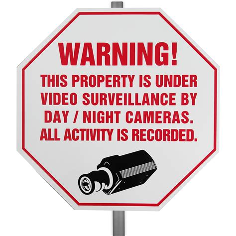 cctv surveillance security warning yard sign the