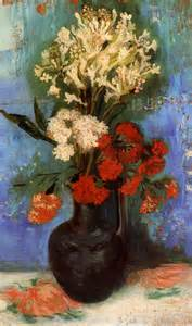 vase with carnations and other flowers gogh vincent