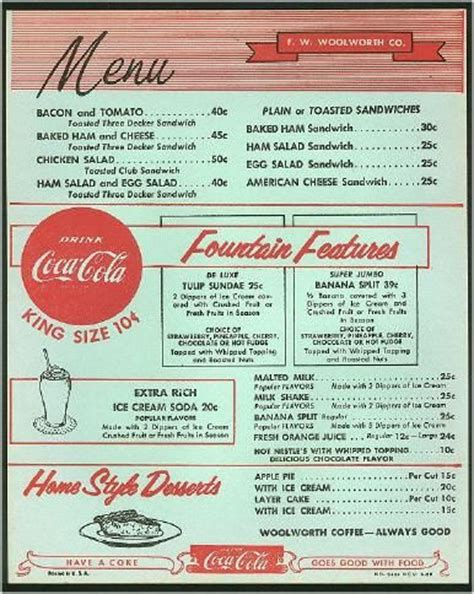 Vintage Woolworth S Menu Use As Template To Design Sock Hop Menu Use As Reference For Authentic 50s Diner Menu Templates Free