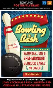 bowling event poster flyer or ad bowling party retro
