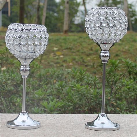 Candlestick Holder Centerpieces 2pcs Metal Silver Plated Candle Holder With Crystals