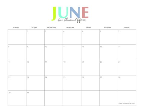 June 2015 Calendar The Colorful 2015 Monthly Calendars By Shiningmom Are