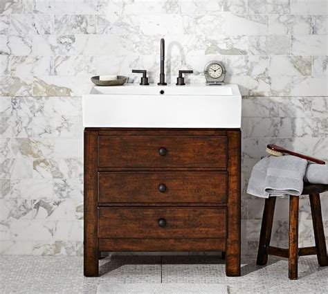 Pottery Barn Mason Vanity Mason Single Sink Console Rustic Mahogany Finish