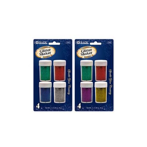 Glitter Glue Bazic Lem Glitter 60 units of bazic 8g 0 28 oz 4 primary color glitter shaker at alltimetrading