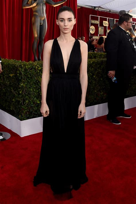 actor critic design rooney and kate mara wear plunging valentino gowns at the