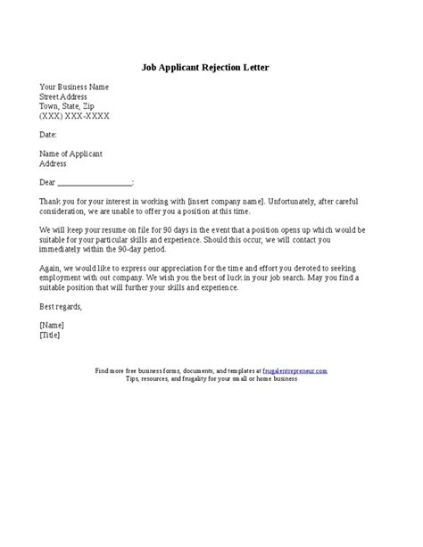 Job Applicant Rejection Letter Sle Ingyenoltoztetosjatekok Regarding Employment Rejection Rejection Email Template