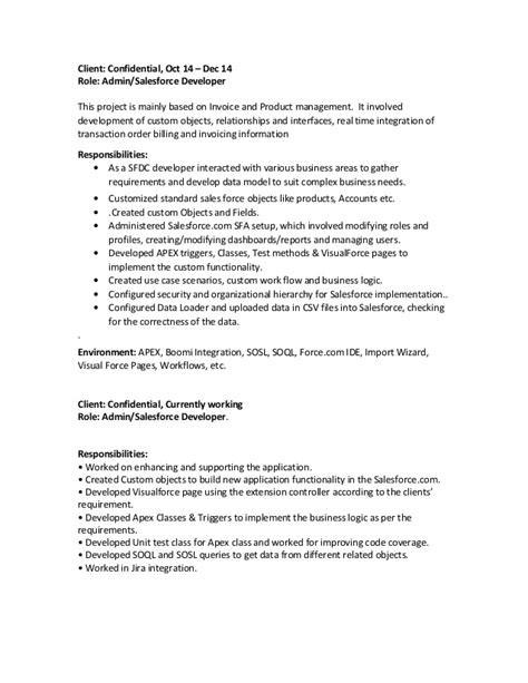 Sustainability Consultant Sle Resume by Salesforce Developer Resume Doc 28 Images Salesforce Resume For Freshers Sle Salesforce