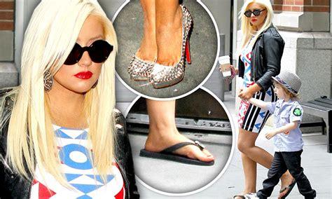 Killer Heels Might Poke Your Eye Out by Aguilera Swaps Killer Heels For Flip Flops