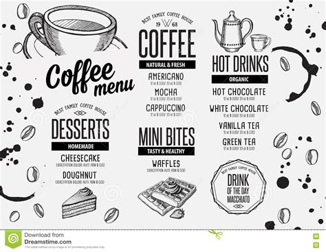 Coffee Menu Placemat Food Restaurant Brochure And Cafe Template Design Stock Vector Placemat Menu Templates