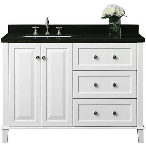 center sink vanity white 48 quot granite top center left sink vanity