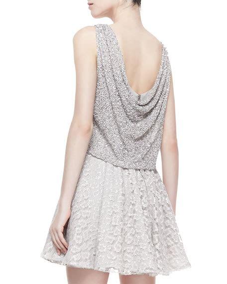 beaded swing dress alice olivia hilta beaded combo swing dress