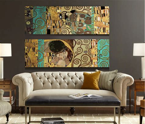 home decor art prints artists gustav klimt the kiss and home decor wall art