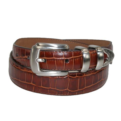 mens croc print 4 dress belt with tapered end by pga