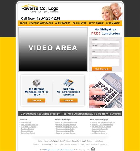 Reverse Mortgage Website Templates Mortgage Web Template