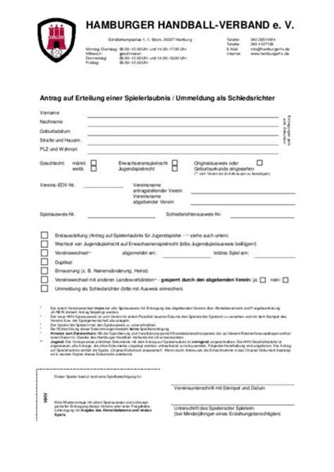 Antrag Briefwahl Hamburg 2015 Formulare Hamburger Handball Verband E V