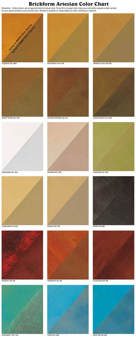 brickform color chart water based stain concrete sted concrete supplies