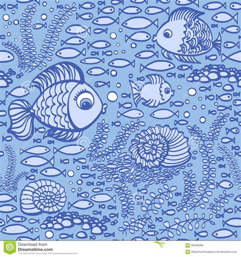 hand drawn wallpaper blue hand drawn fishes wallpaper textile pattern stock