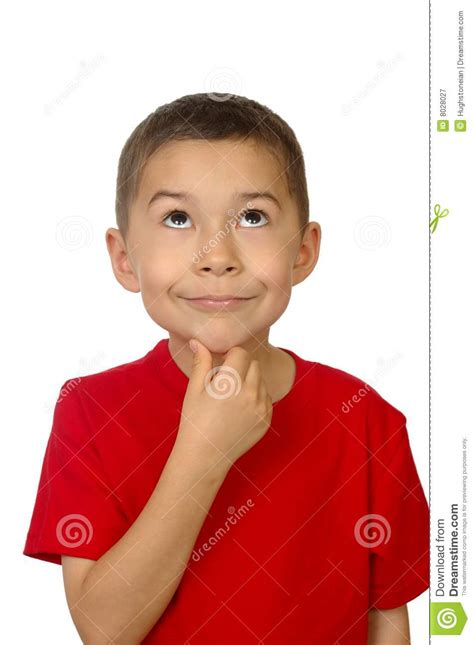 Kid On by Kid Looking Up Thinking Royalty Free Stock Photography