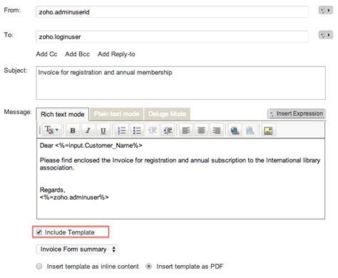 send mail format templates send mail task help zoho creator