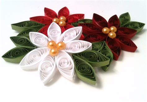 quilled ornament poinsettia christmas decoration set of three