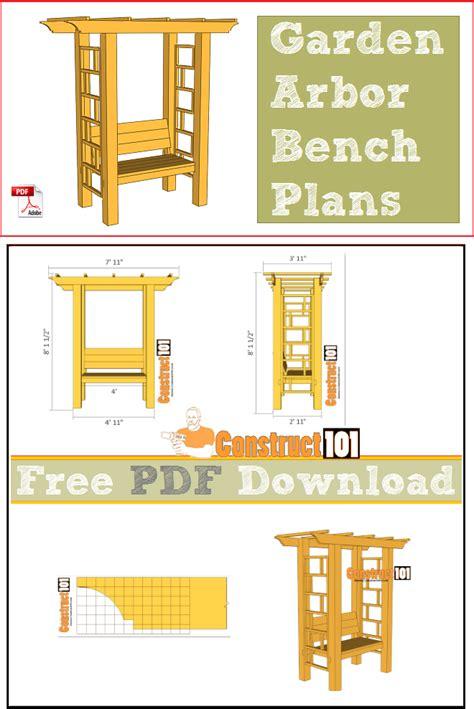 garden bench plans pdf arbor bench plans pdf download construct101