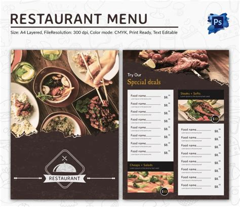 menu for restaurant template food menu template 35 free word pdf psd eps