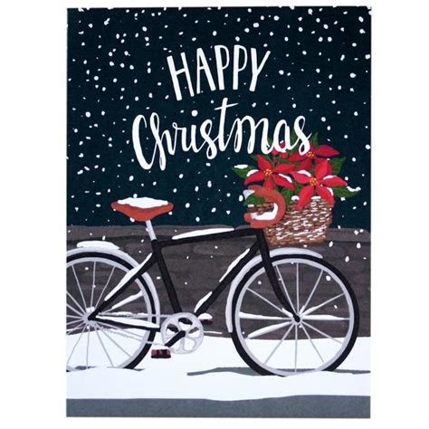 poinsettia bicycle christmas card merry christmas cards smudge ink smudgeinkcom