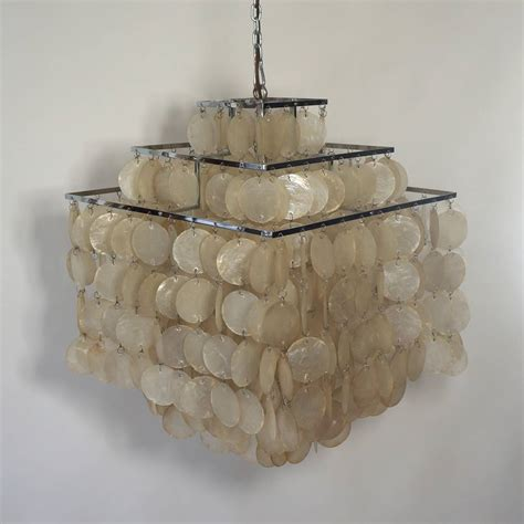 Capiz Pendant Chandelier Capiz Shell Chandelier By Verner Panton At 1stdibs