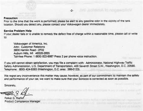 Complaint Letter Volkswagen Scirocco Fuel Tank Recall