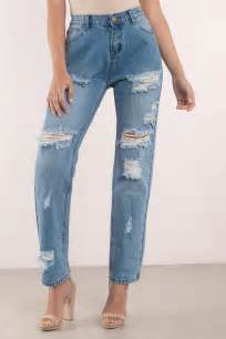 Distressed Denim distressed denim blue denim boyfriend santa