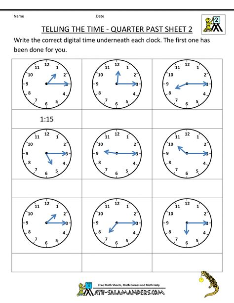 Second Grade Math Worksheet by Clock Worksheet Quarter Past And Quarter To