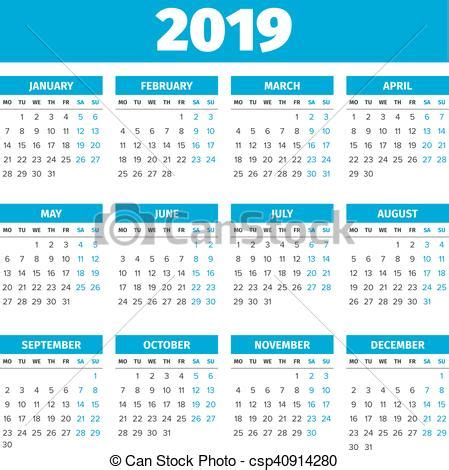 Calendario 2019 España Vector De Simple Calendario 2019 A 241 O Simple 2019