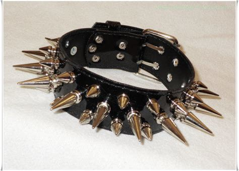 spike collar spiked collar vegan pvc three from necroleatheretsy on